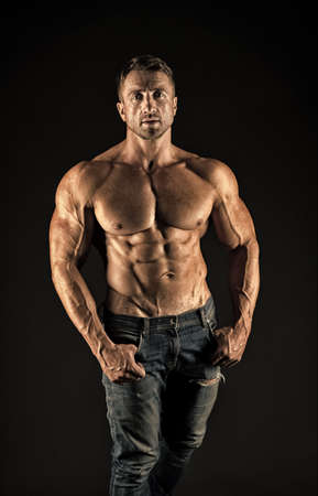 Sex appeal. Sexy man shirtless black background. Athletic guy with torso. Wellness and bodycare. Bodybuilding and fitness. Attractive and sexy. Healthy is Foto de archivo