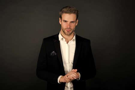 Think fashionable yet functional. Businessman dark background. Businessman in classy style. Handsome businessman wear formal suit. Professional businessman. Dressing for regular business days