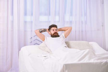 Man in shirt laying on bed, white curtains on background. Guy on satisfied face full of energy in morning. Full of strength and energy concept. Macho with beard hold hands behind head, relaxing