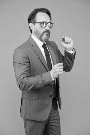 Inspiring speaker. Infobusiness concept. Success coach. Business education. Serious businessman. Education for adults. Self education. Teacher lecturer speaker. Intelligent concept. Share knowledge Reklamní fotografie