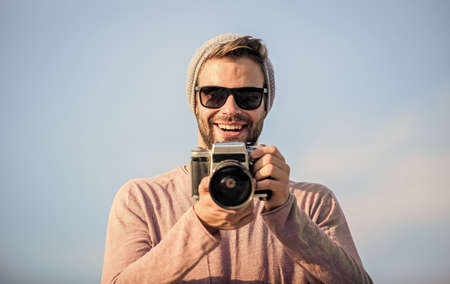 Because Life is Beautiful. capture adventure. journalist. macho man with camera. photographer in glasses. man touristic reporter. travel with camera. male fashion style. looking trendy