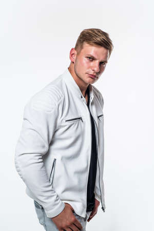 Attractive guy with clean shaved young face skin and stylish blond hair wear casual fashion style isolated on white, handsome