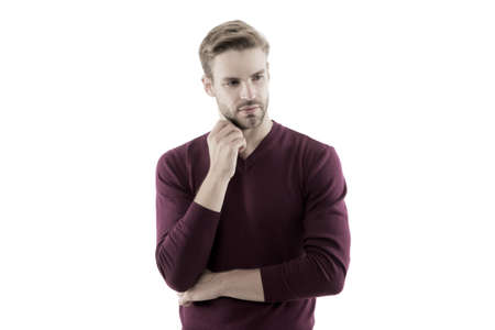 handsome unshaven man isolated on white. man wear purple jumper. male beauty standards. autumn fashion for men. confident businessman has stylish haircut. charismatic guy 版權商用圖片