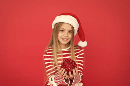 Christmas fun. santa kid decorative tree ball. feeling happy about xmas holiday. christmas shopping time. ready to celebrate new year. bring creativity to home decoration. Festive mood. Decor shop