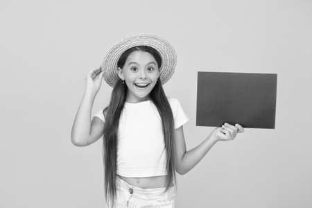 i like it so much. summer teen girl. place for copy space. summer sales - end of season. advertising of beach party. paper art and craft style. hello summer. happy kid presenting paper sheet