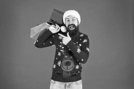 Home shopping. men are goal oriented. Male Shopper. shopping expectations. happy bearded man new year present. gift packages from santa. xmas winter style. online christmas shopping for men