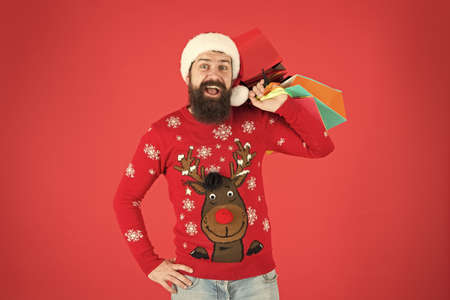 Thanks for your purchase. online christmas shopping for men. men are goal oriented. Male Shopper. shopping expectation. happy bearded man new year present. gift packages from santa. xmas winter style