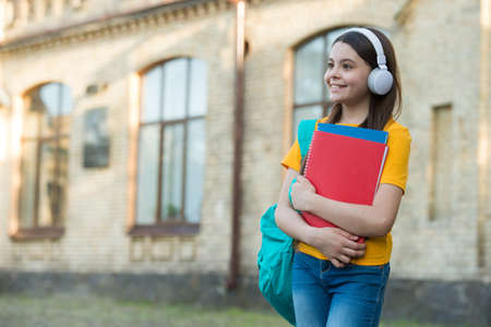 Happy primary school kid wear modern headphones listening to foreign language course of english, copy space