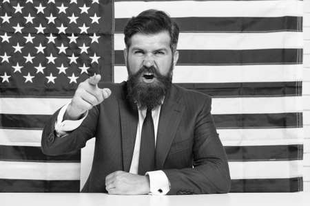 Every vote matters. National holidays. Celebration of victory. Bearded hipster man being patriotic for usa. American reform. July 4. American citizen usa flag. American citizen. Elections and debates