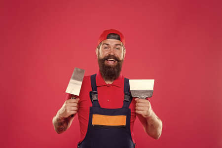 Tools for repair. Builder engineer architect. happy bearded safety expert. Build your future yourself. building is my hobby. best service ever. repairman at his workshop. engineering