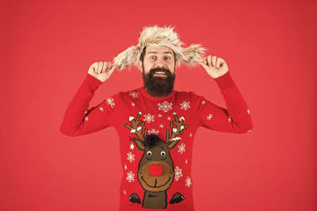 make you more comfortable. new year holidays. merry christmas. male winter fashion. feel cosy any weather. wear warm clothes in cold season. happy hipster with beard in favorite sweater