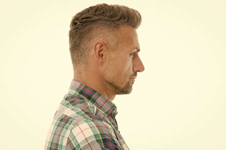 Handsome mature man with stylish hairstyle. Barber salon. Perfect fringe. Styling fringe requires that you apply some pomade or wax and comb hair forward. Fringe hairstyles allow hair volume