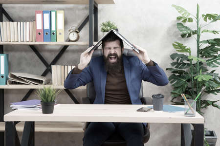 Control anger before it controls you. Businessman shout holding laptop on head. Anger management. Managing stress. Having hard day at work. Overworked and stressed
