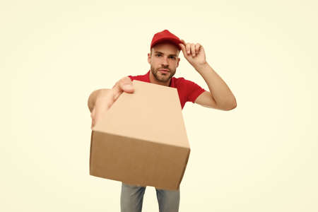 Delivery services are now only option. Shopping concept. Safely ordering food. Courier delivering package. Grocery delivery service during quarantine measures. Food delivery services. Stay at home