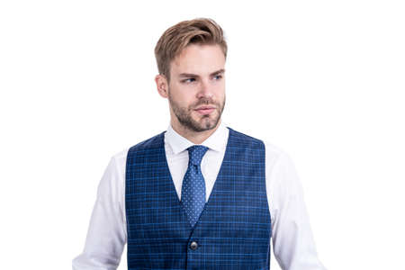 Neat hairstyle for classy look. Unshaven man with stylish hair isolated on white. Hair salon Standard-Bild