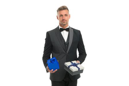 Anniversary celebration. Handsome man hold boxes. Wedding anniversary. Birthday present