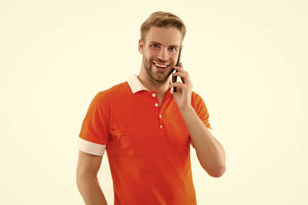 Be communicative. Happy guy talk on mobile phone. Mobile communication. Cellular communication. Telephone communication. Communication technology. Modern life