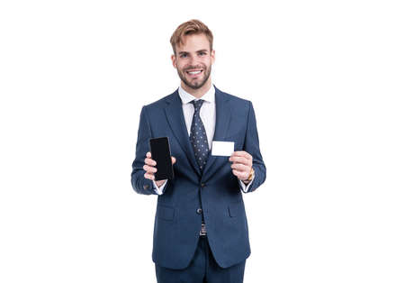 Happy smart operator in formal fashion suit hold mobile phone and contact business card for copy space, communication.