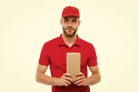 Food delivery services. Stay at home. Delivery services are now only option. Shopping concept. Safely ordering food. Courier delivering package. Grocery delivery service during quarantine measures