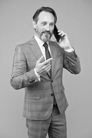 Business conversation man mobile phone, successful negotiations concept