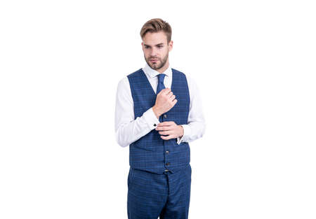 Serious white collar wear elegant waistcoat in formal fashion style isolated on white, formalwear