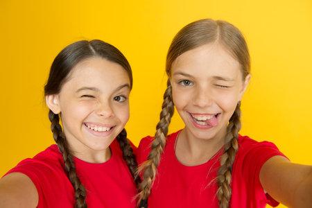 Selfie for social networks or blog. Blogging modern trend. Personal blog. Capturing moments. Child girls taking photo. Children kids happy faces. Video call concept. Blog online. Girls taking photo