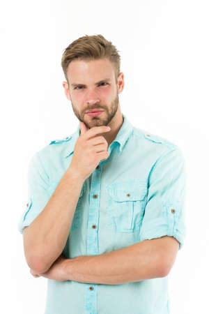Close to solution. Man with bristle serious face thinking white background. Guy thoughtful touches his chin. Thoughtful mood concept. Man with beard thinking. Think about solution. Think to solve