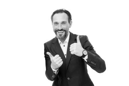 We offer only the best. Happy businessmen give thumbs up hands. Bearded men smile with thumbs up gesture. Gesturing thumbs up. Hand signs. Thumbs up approval