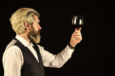 Cheers to friends. Male skilled sommelier estimates alcoholic drink. red wine in wineglasses. bearded man explore taste of wine in restaurant. Checking color and sediments of wine. Wine tasting