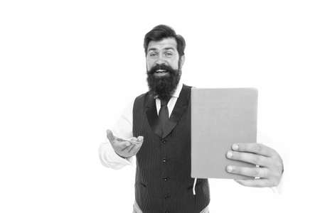 Happy hipster with beard presenting notebook cover for school study education, book Stock Photo
