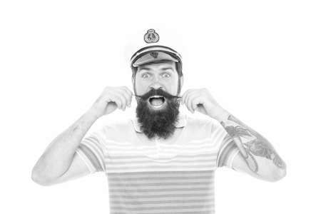 Man cheerful captain sailor hat trip around world, surprising news concept Imagens