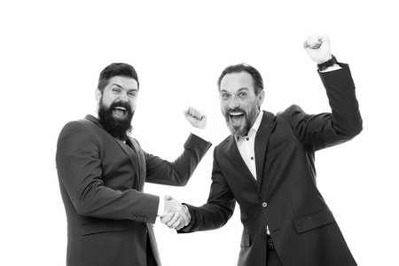 Congratulations, we did it. Happy businessmen express congratulations. Bearded men celebrate success. Congratulations on business deal. Handshaking and offering congratulations. Congrats. Hooray