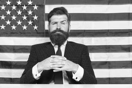 Man american presenter anchorman in studio, great future concept