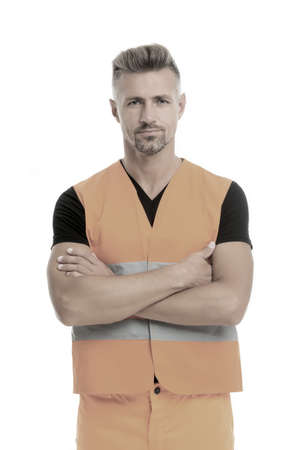 High visibility reflective safety vest. Safety is main point. Man worker protective uniform white background. Protective and safety equipment concept. Safety apparel for construction industry Banque d'images