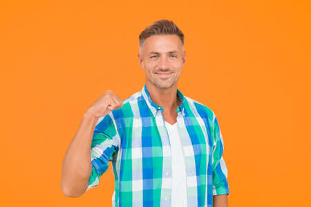 Man happy cheerful face support or motivate. Guy happy emotional expression. Approve and motivate concept. Man mature happy smiling unshaven face yellow background. Be confident 版權商用圖片