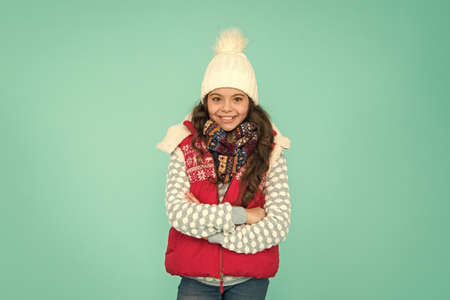 Cheerful winter girl. feeling good any weather. Stay active this season. kid wear knitted warm clothes. winter vibes. Portrait of happy girl hipster. Youth street fashion. Winter fun