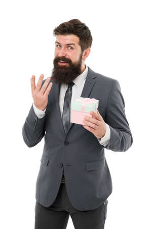 Ways to promote loyalty rewards program. Office party. Pleasant surprise. Gift for client. Man bearded hipster formal clothes hold gift box white background. Thankful concept. Gift for colleague