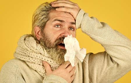 Bearded man sick. Cold flu. First symptom. Headache virus symptom. Immune response. Health care and medicines. Suffer pain. Fever and thermal regulation of immunity. More than just symptom of illness