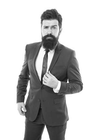 insurance agent. hipster with beard has own business. office life. modern business success. bearded businessman or insurance agent in formal suit. brutal boss man on white. serious insurance agent