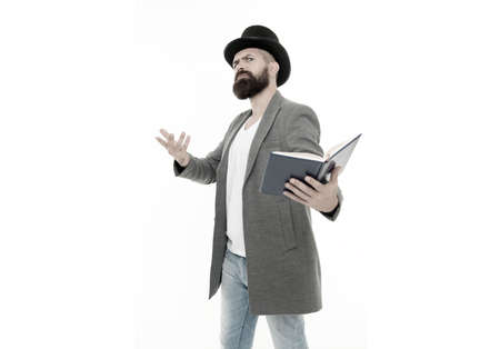 Inspired bearded man read book. Poetry reading. Book presentation. Literature teacher. Books shop. Guy classic outfit read book. Literary criticism. Recite verses. Poet or writer. Author of novel