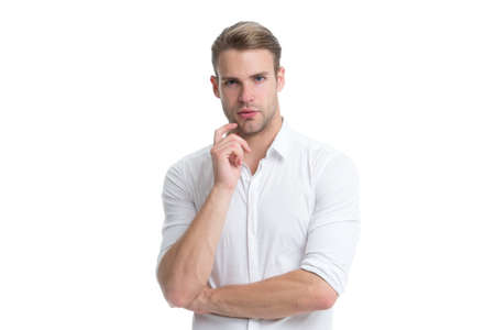 What if. Guy bearded thoughtful touches bristle on chin. Thoughtful mood concept. Man with beard or unshaven guy thinking about. Need to think. Man with bristle serious face thinking white background Stock fotó