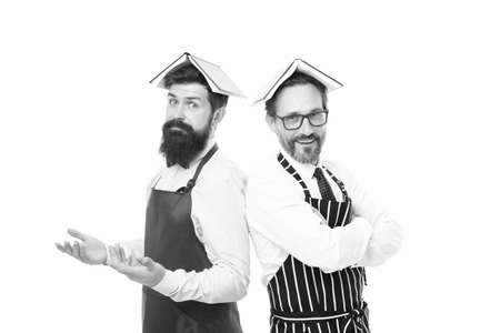 menu planning. happy chef team in apron. bearded men with recipe book. catering business. seating plan. cafe and restaurant opening. housewife men cooking. Culinary ingredient. you are what you eat