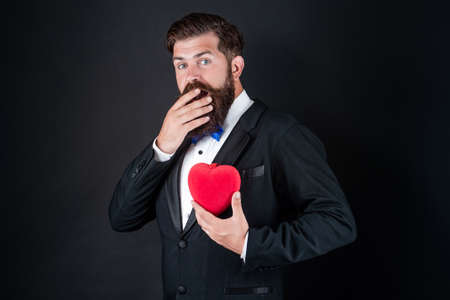 happy valentines day. be my valentine. love and romance. mature bearded guy looking formal.