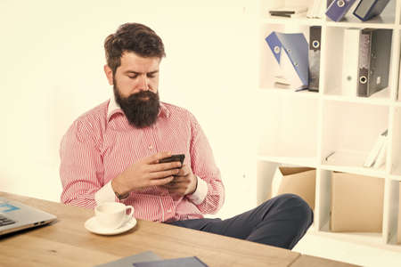 Only the essentials. Bearded man read sms in phone. Modern lifestyle. Business communication. Office life. New technology. Mobile phone for professional use