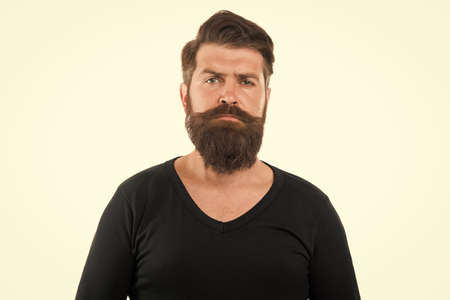 Man bearded hipster stylish mustache. Tips maintain beard. Male portrait. You will look unkempt while waiting for beard grow. Have patience to keep beard untouched. Hipster appearance. Beard fashion