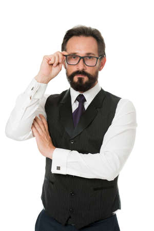 Take look carefully. Man bearded wear eyeglasses isolated white. Businessman teacher adjust eyeglasses. Take look concept. Business analysis and analytical skills. Eyeglasses optics and vision check Banque d'images