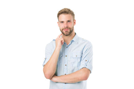 Think to solve. Guy thoughtful touches his chin. Thoughtful mood concept. Think about solution. Close to solution. Man with bristle smiling face thinking white background. Man with beard thinking