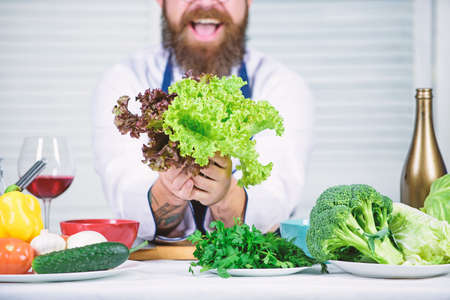 That is for you. Healthy food cooking. Bearded man cook in kitchen, culinary. Chef man in hat. Secret taste recipe. Dieting and organic food, vitamin. Vegetarian. Mature chef with beard