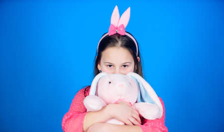 Happy easter. Best easter ever. Egg hunt. Family holiday. Little girl with hare toy. Spring party. Child in rabbit bunny ears. hello spring. easter mood. Funny preparing for Easter