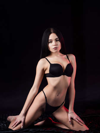 Really sexy. Sexy girl dark background. Sensual woman in lingerie. Callgirl or